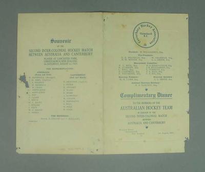 Menu for dinner honouring Australian Hockey team in Canterbury, 1 Aug 1925