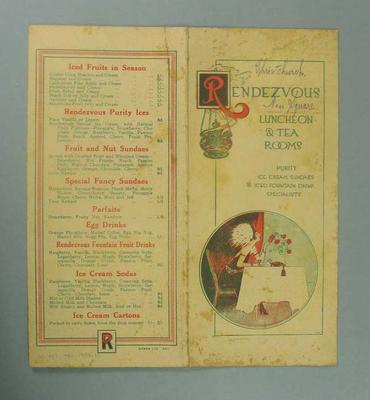 Menu for Rendezvous Luncheon and Tea Rooms in Christchurch, c1925