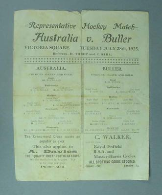 Poster advertising Australia v Buller hockey match at Victoria Square, 28 July 1925