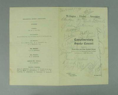 Programme for smoke concert honouring Australian & New Zealand hockey teams, 1925