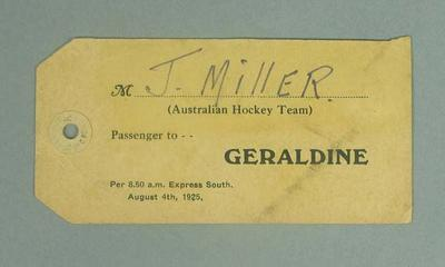 Baggage label used by Jack Miller, August 1925