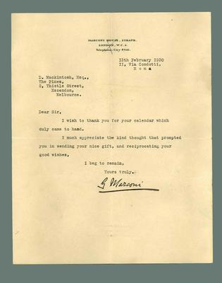 Letter to Donald Mackintosh from Guglielmo Marconi, 13 Feb 1930; Documents and books; 1987.1695.24
