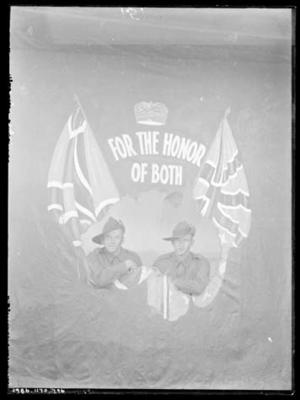 Glass negative, image of two military personnel with AIF flag; Photography; 1986.1170.796