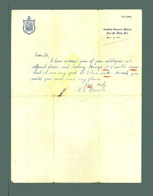 Letter to Donald Mackintosh from E J Morris, 26 Sept 1934