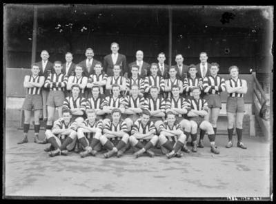 Glass negative, image of football team
