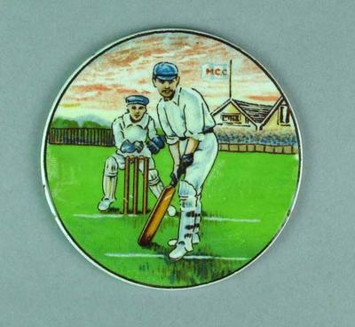 Ceramic plaque with image of cricketer