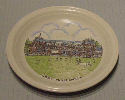 Small ceramic plate inscribed ' Lord's Cricket Ground'