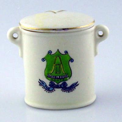 Small oval-shaped ceramic box - 'Hambledon Hants, The Cradle of Cricket'