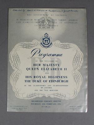 Programme, Welcome to HRH Queen Elizabeth II & Prince Philip - MCG, 25 Feb 1954; Documents and books; M10513