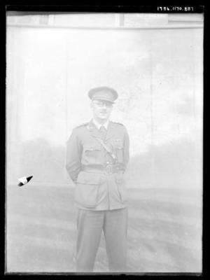 Glass negative, image of unknown man wearing armed services uniform