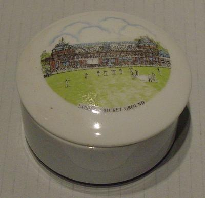 Lid of ceramic trinket box:  inscribed 'Lord's Cricket Ground' with image of the ground