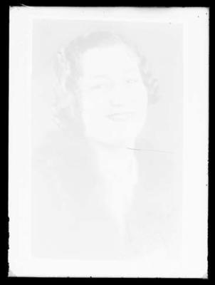 Glass negative, portrait image of unknown woman