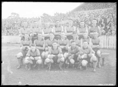 Glass negative, image of Footscray Football Club team - 1931