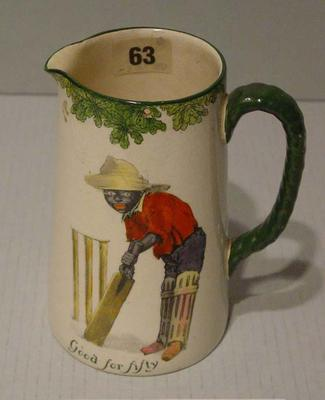 """Royal Doulton jug with cricket design, inscribed """"Good for Fifty"""" and """"All Black Team""""; Domestic items; M9526"""
