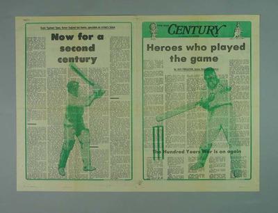 """Newspaper supplement, """"Century - A Centenary Test Souvenir"""" - 11 March 1977"""