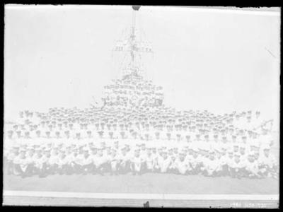 Glass negative, image of navy personnel on a navy vessel