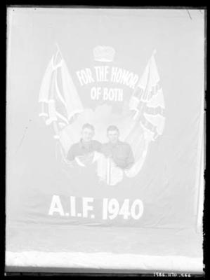 Glass negative, image of two unknown men in military attire with AIF flag