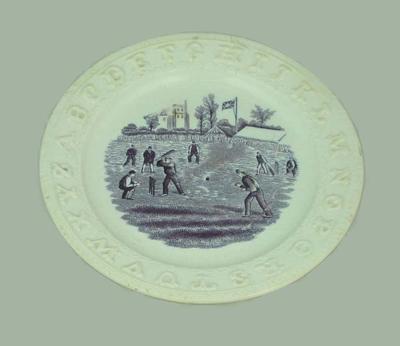 Plate, alphabet and cricket design