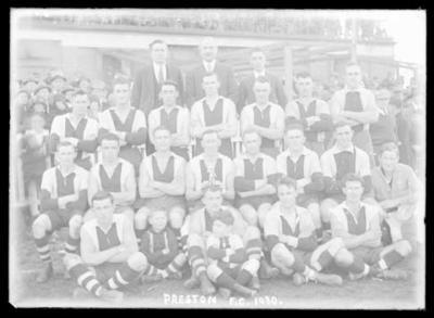 Glass negative, image of Preston Football Club team - 1930; Photography; 1986.1170.980