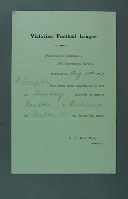 Victorian Football League umpire assignment, 23 August 1917; Documents and books; 1994.3039.105