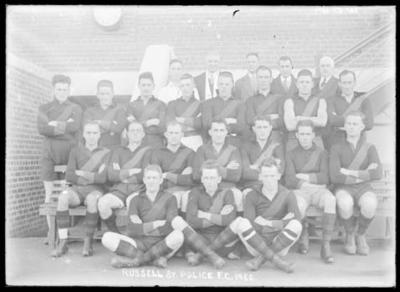 Glass negative, image of Russell St Police FC team - 1930