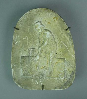 Plaster plaque, image of cricketer Fuller Pilch