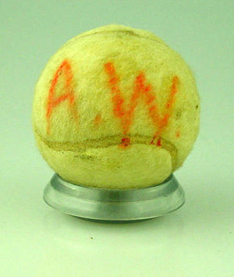 """Used Slazenger tennis ball, belonged to the Rodgerson/Wood family, marked """"A.W."""""""