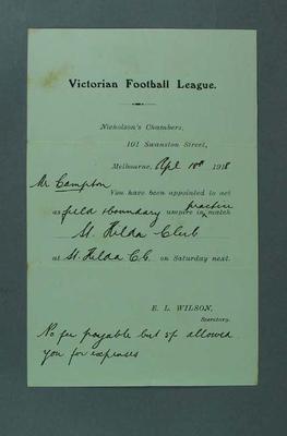 Victorian Football League umpire assignment, 18 April 1918