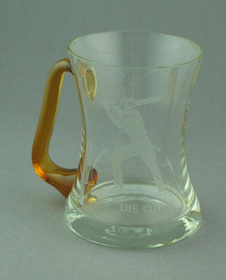Glass mug with cricket design after illustration by Nicholas Felix, 'The Cut'