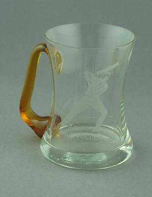 Glass mug with cricket design after illustration by Nicholas Felix, 'Leg Half Volley'