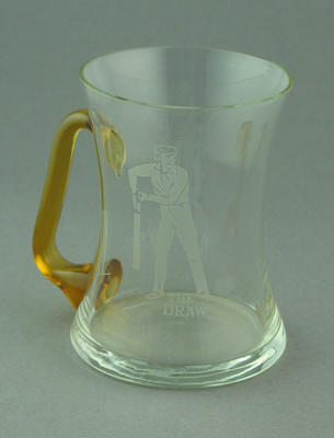 Glass mug with cricket design after illustration by Nicholas Felix, 'The Draw'