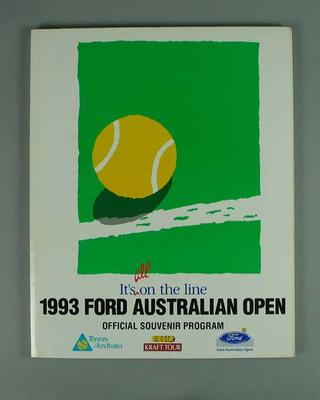 Programme, 1993 Australian Open; Documents and books; 2004.3912.9