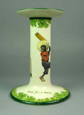 Ceramic candlestick holder, cricket design