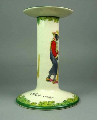 Ceramic candlestick holder, cricket design; Domestic items; M4933.2
