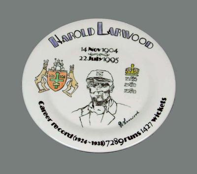 Harold Larwood Career Record plate 1924-1938,  painted by Deborah Morley; Domestic items; M10638