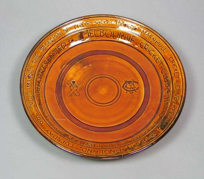 Terracotta plate, presented to Melbourne Cricket Club by Marnhull Cricket Club - 6 July 1993