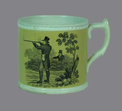 Staffordshire ceramic mug with cricket scene and hunting scene on either side; Domestic items; M10640