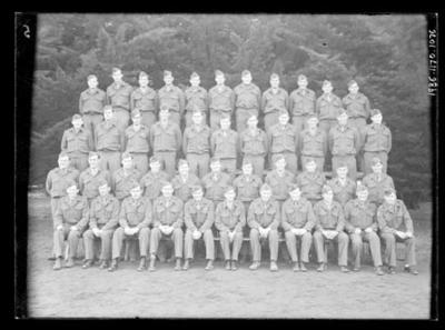 Glass negative, image of large military group