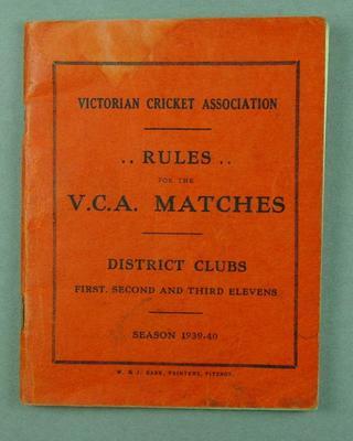 Booklet, Victorian Cricket Association Rules - season 1939/40