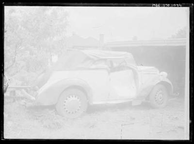 Glass negative, image of automobile