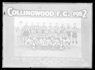 Glass negative, image of Collingwood Football Club team - 1952; Photography; 1986.1170.1106