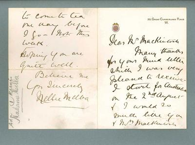 Letter to Donald Mackintosh from Dame Nellie Melba, c1902; Documents and books; 1987.1695.34