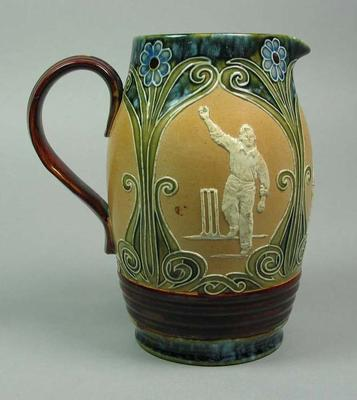 Jug, images of cricketers; Domestic items; M5361