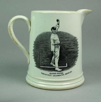 Jug:  images of  Yorkshire cricketers George Hirst & Wilfred Rhodes; Domestic items; M10843
