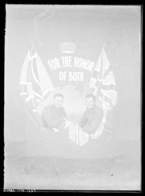 Glass negative, image of two unknown men in military uniform with AIF flag