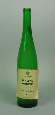 """Wine bottle, """"MCC Cricketers, Wally's Whisper, Bottled under Protest, XXIX Vintage""""; Domestic items; M10644"""