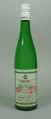 Wine bottle, MCC XXIX Club Annual Dinner 1982 - Club Reisling; Domestic items; M10643.1