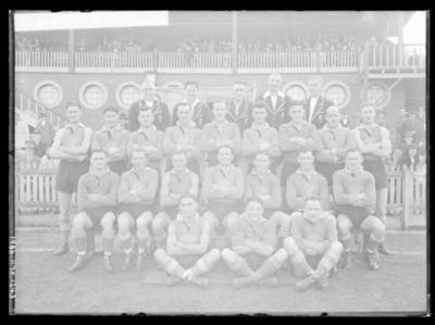 Glass negative, image of Prahran Football Club team - Premiers 1937; Photography; 1986.1170.1243