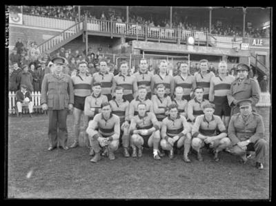 Glass negative, image of football team - 1942 Inter-Services Competition; Photography; 1986.1170.1247