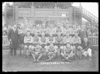 Glass negative, image of Camberwell Football Club - 1931; Photography; 1986.1170.1258